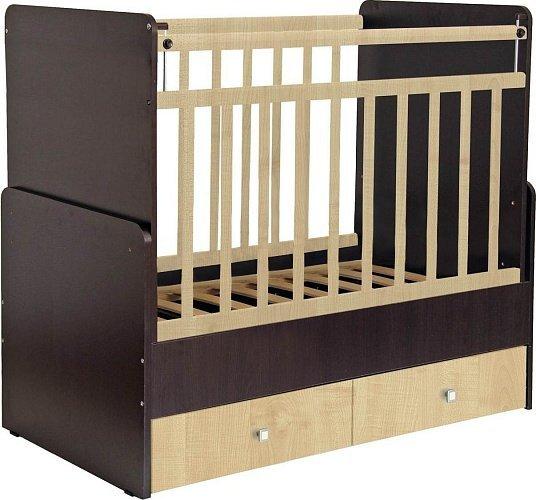 Кроватка детская Фея 720 с маятником венге-клен фото