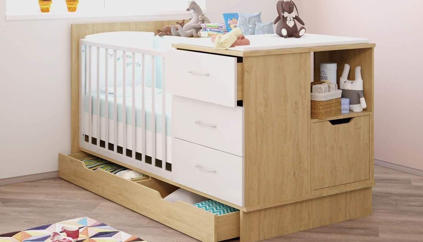 Кроватка детская Polini classic дуб - белый глянец фото